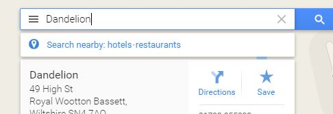 Google Maps Main Menu